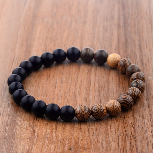 NATURALITY – Natural wood and black beads bracelet