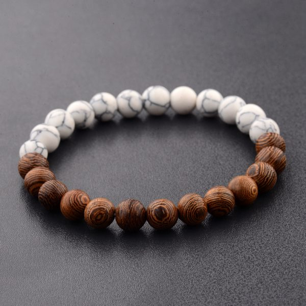 INFINITY – Natural wood and white beads bracelet