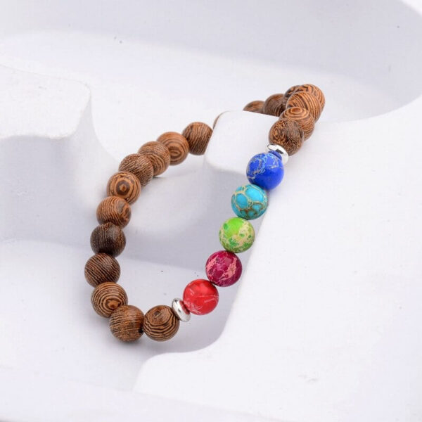Espoir - Bracelet made of wood and stone in the colors of the rainbow